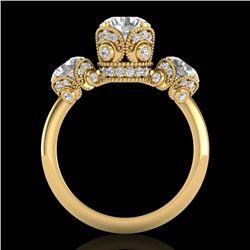 3 CTW VS/SI Diamond Solitaire Art Deco 3 Stone Ring 18K Yellow Gold - REF-604N5Y - 36868