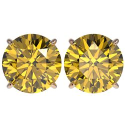 5 CTW Certified Intense Yellow SI Diamond Solitaire Stud Earrings 10K Rose Gold - REF-1390F5M - 3315