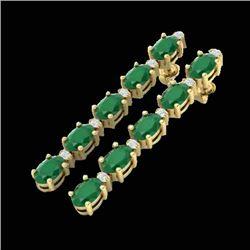 17.97 CTW Emerald & VS/SI Certified Diamond Tennis Earrings 10K Yellow Gold - REF-130T2X - 29479