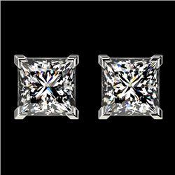 2 CTW Certified VS/SI Quality Princess Diamond Stud Earrings 10K White Gold - REF-552F2M - 33094