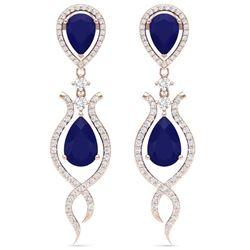 16.57 CTW Royalty Sapphire & VS Diamond Earrings 18K Rose Gold - REF-327T3X - 39517