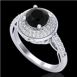 1.7 CTW Fancy Black Diamond Solitaire Engagement Art Deco Ring 18K White Gold - REF-143F6M - 38122