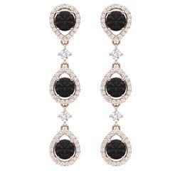 4.7 CTW Certified Black VS Diamond Earrings 18K Rose Gold - REF-209K3R - 39097