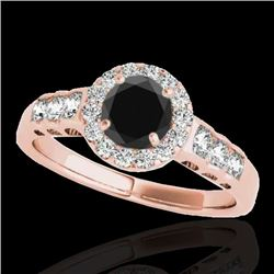 1.55 CTW Certified Vs Black Diamond Solitaire Halo Ring 10K Rose Gold - REF-74H5W - 34364