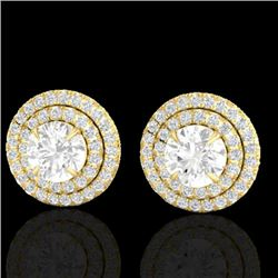 2 CTW Micro Pave VS/SI Diamond Certified Stud Earrings Double Halo 18K Yellow Gold - REF-242Y4N - 21