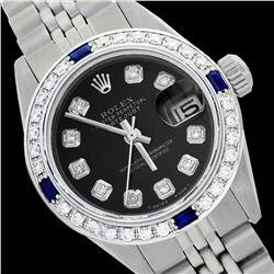Rolex Ladies Stainless Steel, Diam Dial & Diam/Sapphire Bezel, Saph Crystal - REF-355X6A