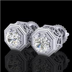 1.07 CTW VS/SI Diamond Solitaire Art Deco Stud Earrings 18K White Gold - REF-190X9T - 37094