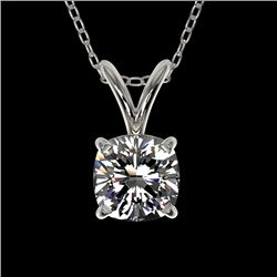 0.50 CTW Certified VS/SI Quality Cushion Cut Diamond Necklace 10K White Gold - REF-74W5H - 33169