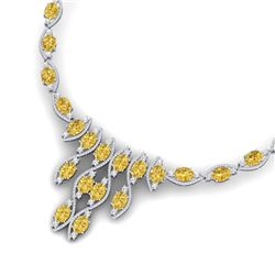 64.04 CTW Royalty Canary Citrine & VS Diamond Necklace 18K White Gold - REF-945W5H - 39009