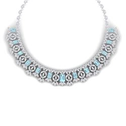 53.14 CTW Royalty Sky Topaz & VS Diamond Necklace 18K White Gold - REF-1563N6Y - 39384