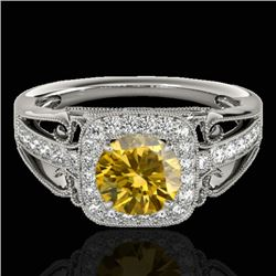 1.3 CTW Certified Si Fancy Intense Yellow Diamond Solitaire Halo Ring 10K White Gold - REF-165F6M -
