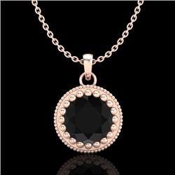 1 CTW Fancy Black Diamond Solitaire Art Deco Stud Necklace 18K Rose Gold - REF-50H9W - 37486