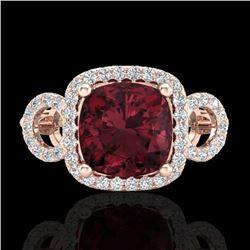 3.75 CTW Garnet & Micro VS/SI Diamond Certified Ring 14K Rose Gold - REF-54H9W - 23004