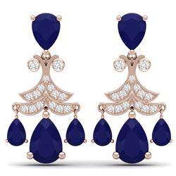 11.97 CTW Royalty Sapphire & VS Diamond Earrings 18K Rose Gold - REF-170H9W - 38722