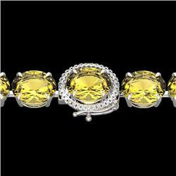 78 CTW Citrine & Micro VS/SI Diamond Halo Designer Bracelet 14K White Gold - REF-212W8H - 22255