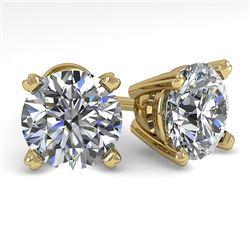 3 CTW Certified VS/SI Diamond Stud Earrings 14K Yellow Gold - REF-921H3W - 38381