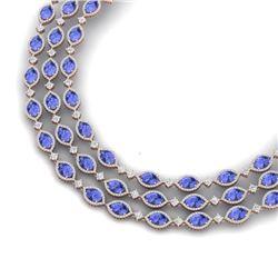 79.33 CTW Royalty Tanzanite & VS Diamond Necklace 18K Rose Gold - REF-1781M8F - 38950