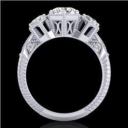 1.66 CTW VS/SI Diamond Solitaire Art Deco 3 Stone Ring 18K White Gold - REF-445F5M - 37223