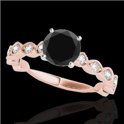 1.5 CTW Certified Vs Black Diamond Solitaire Ring 10K Rose Gold - REF-64X2T - 34884