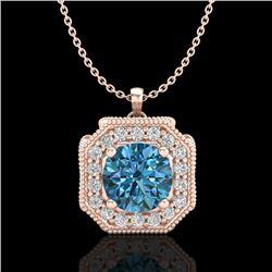 1.54 CTW Fancy Intense Blue Diamond Solitaire Art Deco Necklace 18K Rose Gold - REF-216M4F - 38294