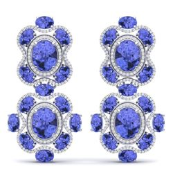 33.11 CTW Royalty Tanzanite & VS Diamond Earrings 18K White Gold - REF-618K2R - 39318