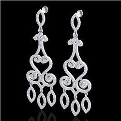 3.25 CTW VS/SI Diamond Certified Micro Pave Designer Earrings 14K White Gold - REF-253M6F - 22415
