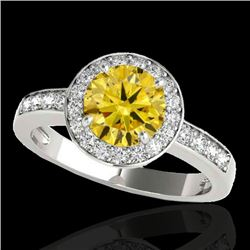 1.4 CTW Certified Si Fancy Intense Yellow Diamond Solitaire Halo Ring 10K White Gold - REF-180Y2N -
