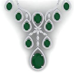 37.66 CTW Royalty Emerald & VS Diamond Necklace 18K White Gold - REF-963M6F - 38556