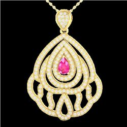 2 CTW Pink Sapphire & Micro Pave VS/SI Diamond Necklace 18K Yellow Gold - REF-169M6F - 21268