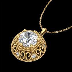 1.11 CTW VS/SI Diamond Solitaire Art Deco Necklace 18K Yellow Gold - REF-315Y2N - 36925