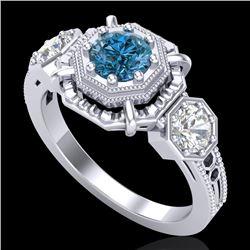 1.01 CTW Fancy Intense Blue Diamond Art Deco 3 Stone Ring 18K White Gold - REF-165N5Y - 37467