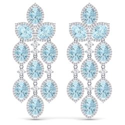 34.25 CTW Royalty Sky Topaz & VS Diamond Earrings 18K White Gold - REF-450F2M - 38934