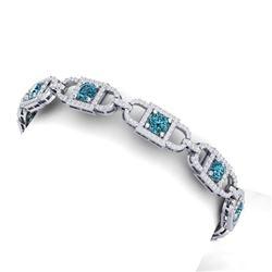 9 CTW Si/I Fancy Blue And White Diamond Bracelet 18K White Gold - REF-680X5T - 40142