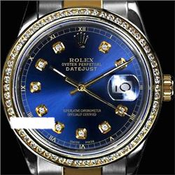 Rolex Ladies Two Tone 14K Gold/SS, Diamond Dial & Diamond Bezel, Saph Crystal - REF-374N2F