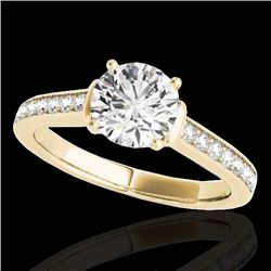 1.5 CTW H-SI/I Certified Diamond Solitaire Ring 10K Yellow Gold - REF-174M5F - 34927
