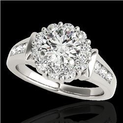 1.9 CTW H-SI/I Certified Diamond Solitaire Halo Ring 10K White Gold - REF-206N4Y - 34292