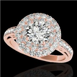 2.25 CTW H-SI/I Certified Diamond Solitaire Halo Ring 10K Rose Gold - REF-218M2F - 34203