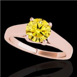 1.5 CTW Certified Si Fancy Intense Yellow Diamond Solitaire Ring 10K Rose Gold - REF-260W2H - 35542