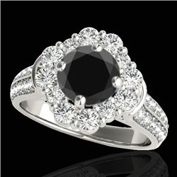 2.81 CTW Certified Vs Black Diamond Solitaire Halo Ring 10K White Gold - REF-136W5H - 33961