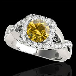 2 CTW Certified Si Fancy Intense Yellow Diamond Solitaire Halo Ring 10K White Gold - REF-234T5X - 33