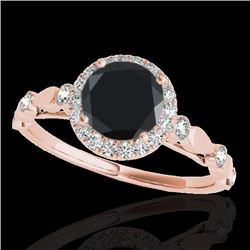 1.25 CTW Certified Vs Black Diamond Solitaire Halo Ring 10K Rose Gold - REF-55X5T - 33620