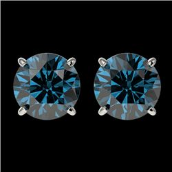2.05 CTW Certified Intense Blue SI Diamond Solitaire Stud Earrings 10K White Gold - REF-249W6H - 366