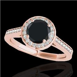 1.93 CTW Certified Vs Black Diamond Solitaire Halo Ring 10K Rose Gold - REF-76N9Y - 33521
