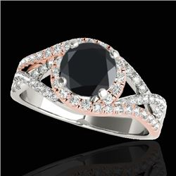 1.5 CTW Certified Vs Black Diamond Solitaire Halo Ring Two Tone 10K White & Rose Gold - REF-85H8W -