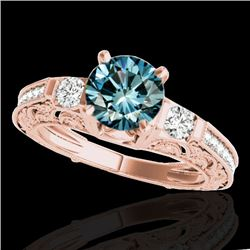 1.38 CTW SI Certified Blue Diamond Solitaire Antique Ring 10K Rose Gold - REF-174H5W - 34645