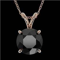 1.50 CTW Fancy Black VS Diamond Solitaire Necklace 10K Rose Gold - REF-41Y3N - 33224