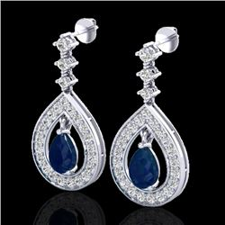 2.25 CTW Sapphire & Micro Pave VS/SI Diamond Earrings Designer 14K White Gold - REF-105X5T - 23155