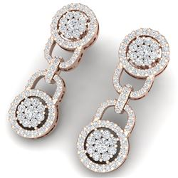 2.30 CTW Certified SI/I Diamond Halo Earrings 18K Rose Gold - REF-135X2T - 40083