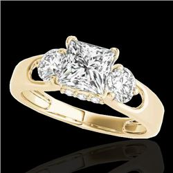 1.6 CTW VS/SI Certified Princess Cut Diamond 3 Stone Ring 10K Yellow Gold - REF-385W8H - 35423