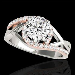 1.55 CTW H-SI/I Certified Diamond Bypass Solitaire Ring Two Tone 10K White & Rose Gold - REF-220W4H